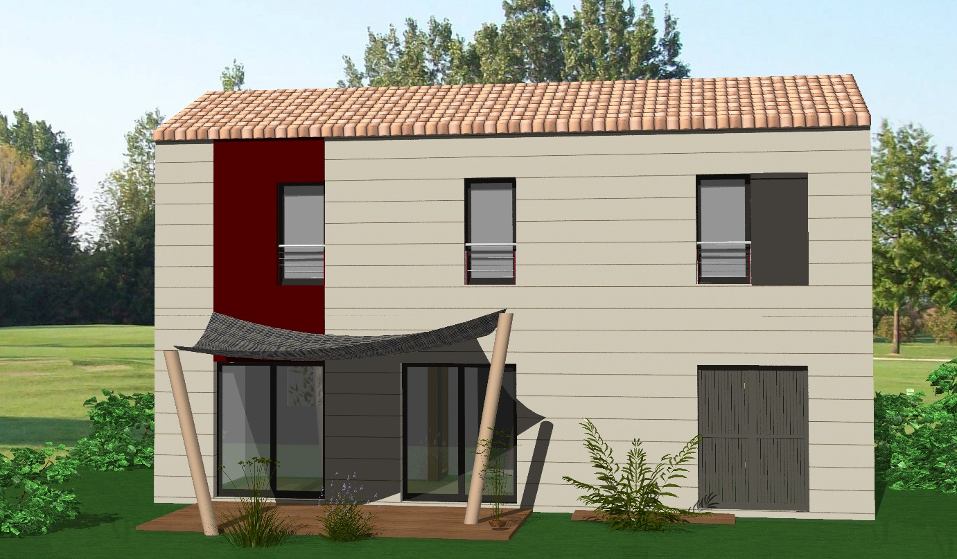 Maison vendre chauray 93 m terrain 280 m delrieu construction for Construction bois 93
