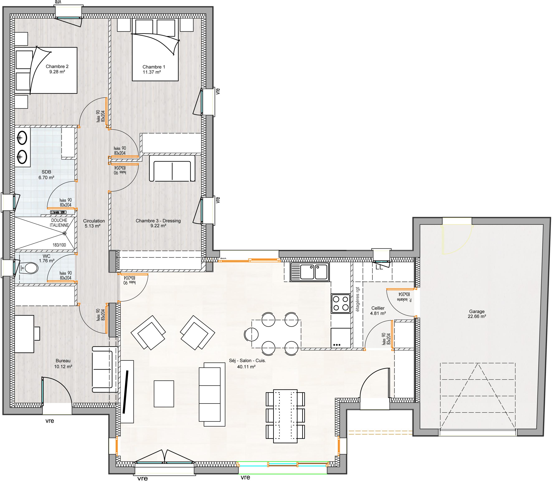 maison vendre st augustin sur mer 99m terrain 450m delrieu. Black Bedroom Furniture Sets. Home Design Ideas